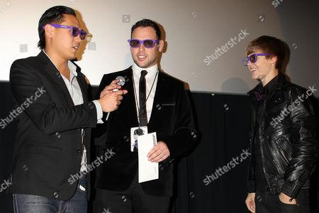Justin Bieber with Jon Chu and manager Scott Scooter Braun
