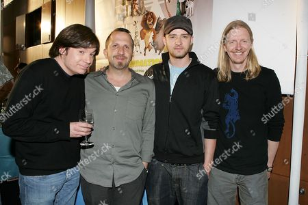Mike Myers, Aron Warner, Justin Timberlake and Andrew Adamson