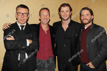Peter Morgan, Andrew Eaton, Chris Hemsworth and Daniel Bruhl