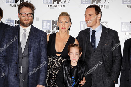 Stock Photo of Seth Rogen, Kate Winslet, Ripley Sobo and Michael Fassbender