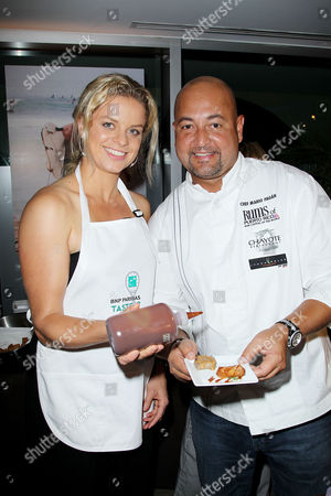 Stock Picture of Kim Clijsters and Chef Mario Pagan