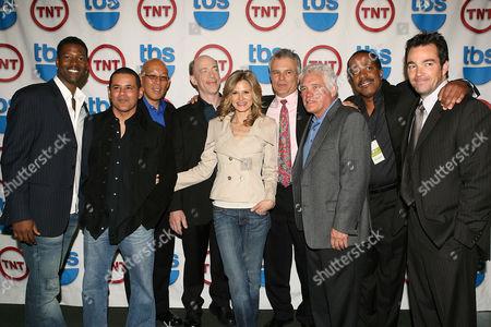 Cast of 'The Closer' - Corey Reynolds, Raymond Cruz, guest, J K Simmons, Kyra Sedgwick, Tony Denison, G W Bailey, Robert Gossett and Jon Tenney