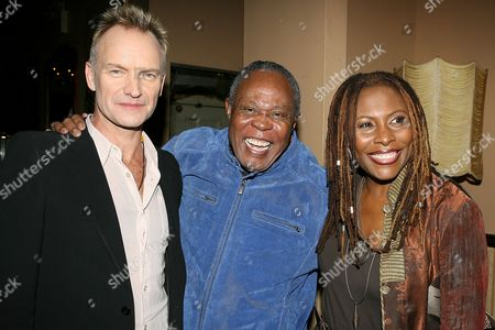 Sting and Sam Moore tape an upcoming episode of the Charlie Rose Show. The two sang a duet entitled 'None of us are free' from Sam's latest CD 'Overnight Sensational' the taping was held at the Cutting Room, here with Brenda Russell