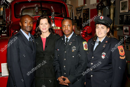 Omar Shareef, Marcia Gay Harden, Albert Jason Boyd and Bonnie Lopez. Liberty Mutual presented the 2006 National Fire Mark Award to three fire fighters who displayed exemplary acts of valor or demonstrated significant commitment to public health and safety. Held at the New York City Fire Museum this years recipients include Bonnie Lopez (Upton,MAssachusetts,and Baltimore City fire fighters Omar Shareef and Albert Jason Boyd.