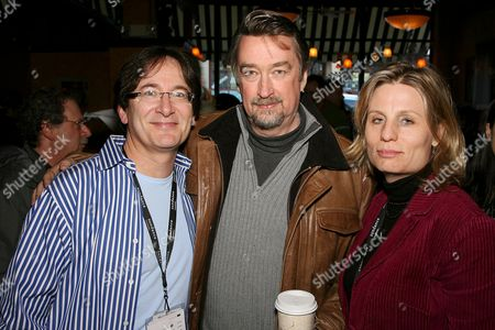 Larry Aidem, Geoffrey Gilmore and Laura Michalchyshyn at a Channel Party