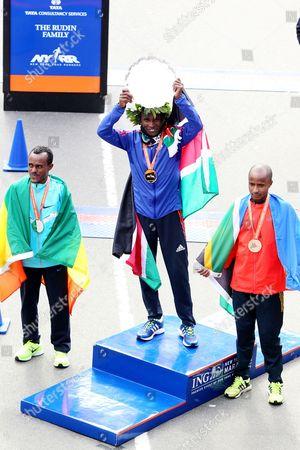 Lusapho April, Geoffrey Mutai and Tsegaye Kebede