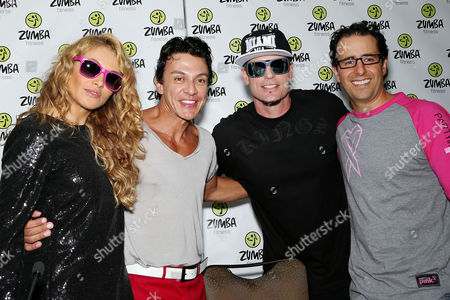 Paulina Rubio, Beto Perez (Zumba Creator, Co-Founder), Vanilla Ice and Alberto Perlman (CO-Founder Zumba)