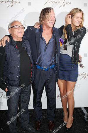 Max Azria, Mickey Rouke and Cheyenne Tozzi