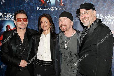 Bono (Paul Hewson), Julie Taymor, The Edge (David Evans) and Philip William McKinley