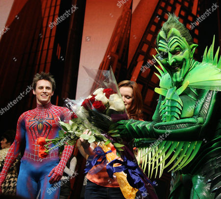 Reeve Carney, Jennifer Damiano and Patrick Page (as Green Goblin