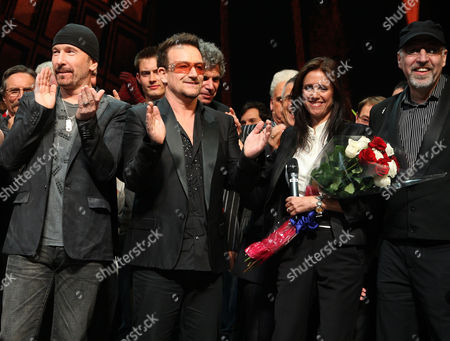 Stock Image of The Edge, Bono, Julie Taymor and Philip William McKinley