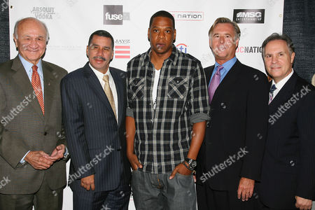 Fire Commissioner Nicholas Scoppetta, Governor David Patterson, Jay-Z, Mike Bair and Jay Marciano