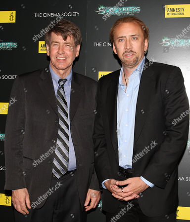 Stock Photo of Larry Cox (Executive Director Amnesty International USA) and Nicolas Cage