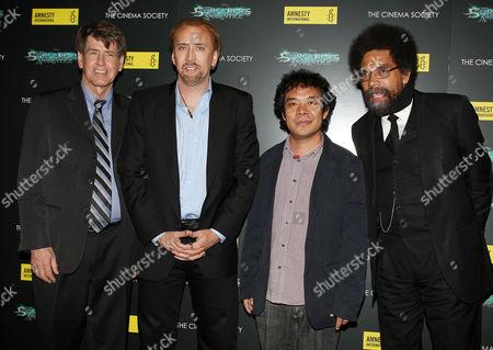Larry Cox (Executive Director Amnesty International USA), Nicolas Cage, Ngawang Choephel and Dr. Cornel West