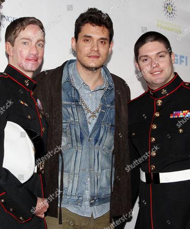 John Mayer with Cpl Aaron Mankin, U.S. Marine Corps (left), Lance Cpl. Michael Martinez, U.S. Marine Corps (R)
