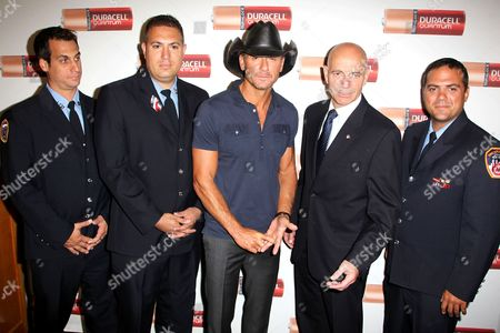 Editorial image of Tim McGraw and Duracell presents FDNY with donation, New York, America - 15 Aug 2013
