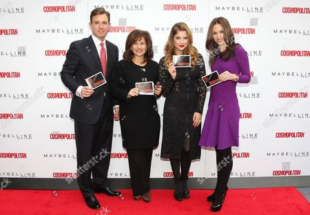Stock Photo of Brian Whiting (Pres. & CEO, USONY), Donna Kalajian Lagani (SVP, Publisher, Cosmo), Ashley Benson and Carolyn Dawkins (VP, Marketing, Maybelline New York)
