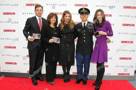 Stock Picture of Brian Whiting, Donna Kalajian Lagani (SVP, Publisher, Cosmo), Ashley Benson, Cadet Lyle Regaladon and Carolyn Dawkins (VP, Marketing, Maybelline New York)