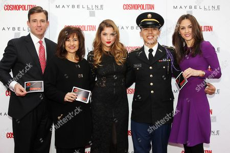 Stock Image of Brian Whiting, Donna Kalajian Lagani (SVP, Publisher, Cosmo), Ashley Benson, Cadet Lyle Regaladon and Carolyn Dawkins (VP, Marketing, Maybelline New York)
