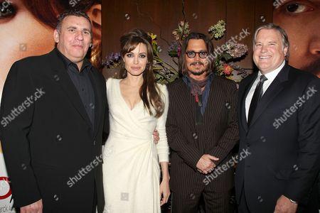 Graham King, Angelina Jolie, Johnny Depp and Tim Headington