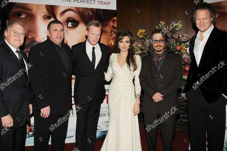 Tim Headington, Graham King, Paul Bettany, Angelina Jolie, Johnny Depp and Florian Henckel Von Donnersmarck