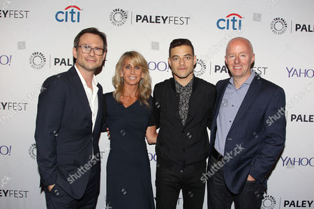 Christian Slater, Bonnie Hammer, Rami Malek and Christopher McCurdy (Pres; USA Network)