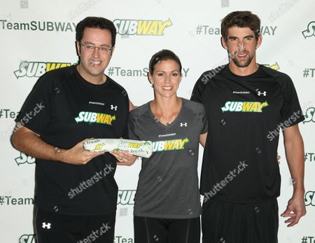 Jared Fogle, Whitney Phelps and Michael Phelps