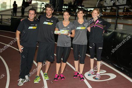 Jared Fogle, Michael Phelps, Whitney Phelps, Hilary Phelps and Mary Wittenberg