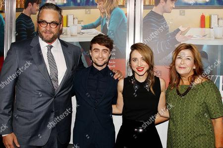 Michael Dowse (Director), Daniel Radcliffe, Zoe Kazan and Terry Press (Pres., CBS Films)