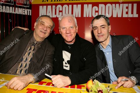 Stock Image of Angelo Badalamenti, Malcolm McDowell and David Grieco