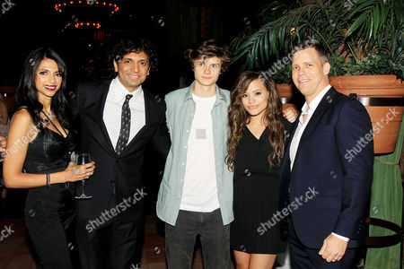 Bhavna Vaswani, M. Night Shyamalan, Charlie Tahan, Sarah Jeffery and Tim Griffin at the after party