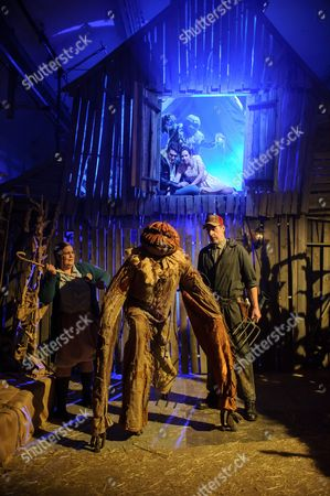 Stock Image of Ground level - Alice Bell (Mrs Baker), Matthew Waters (Scarecrow), Russell Layton (Stanley), Aloft - Alex Griffin-Griffiths (Ben), Ben Morrell (Scarecrow), Angelina Reilly (Sarah).