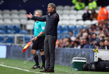 Charlton Athletic manager Jose Riga gestures in frustration during the Sky Bet Championship match between QPR and Charlton Athletic played at Loftus Road, London on April 9th 2016