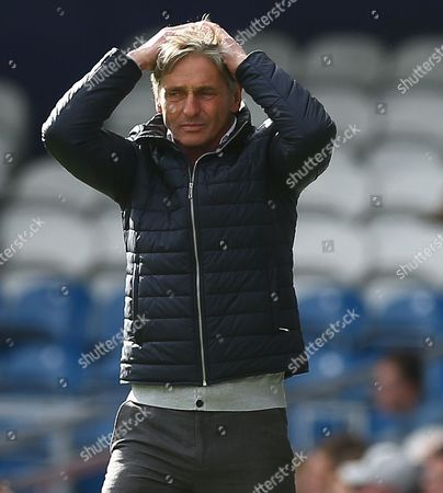 Charlton Athletic manager Jose Riga shows a look of dejection during the Sky Bet Championship match between QPR and Charlton Athletic played at Loftus Road, London on April 9th 2016