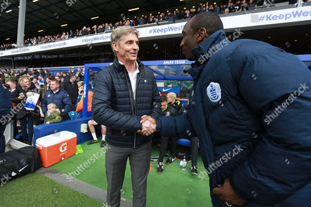 Charlton Athletic's manager Jose Riga  and Queens Park Rangers manager Jimmy Floyd Hasselbaink during the Sky Bet Championship match between QPR and Charlton Athletic played at Loftus Road, London on April 9th 2016