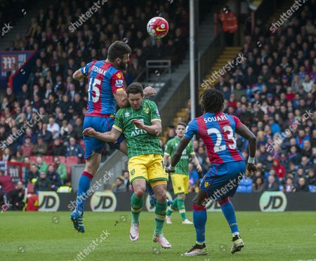 Mile Jedinak of Crystal Palace in action with Matthew Jarvis of Norwich, Barclays Premier League Selhurst Park, London,  Britain 9th April 2016.