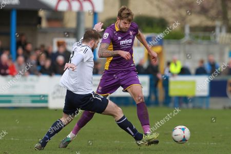 Ben parker and Harry Pell during the Vanarama National League match between Guiseley  and Cheltenham Town at Nethermoor Park, Guiseley