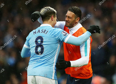 Samir Nasri of Manchester City celebrates scoring his goal to make it 2-1 with Martin Demichelis during the Barclays Premier League match between Manchester City and West Bromwich Albion played at the Etihad Stadium, Manchester on April 9th 2016
