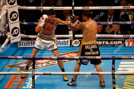 JAMIE McDONNELL (white shorts) from the UK during his victory over FERNANDO VARGAS (Black shorts) of Mexico during the WBA World Bantamweight title at the O2 Arena, London on April 9th 2016