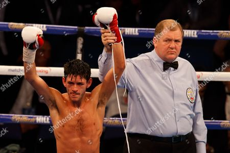 JAMIE McDONNELL (white shorts) from the UK after his victory over FERNANDO VARGAS (Black shorts) of Mexico during the WBA World Bantamweight title at the O2 Arena, London on April 9th 2016