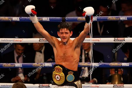 Stock Image of JAMIE McDONNELL (white shorts) from the UK after his victory over FERNANDO VARGAS (Black shorts) of Mexico during the WBA World Bantamweight title at the O2 Arena, London on April 9th 2016