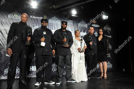 Dr Dre, Ice Cube, MC Ren, Kathy Wright and DJ Yella