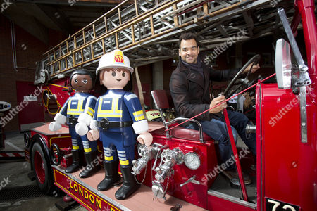 V presenter Michael Underwood hangs out with life-sized Playmobil figures