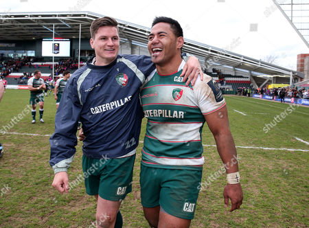Leicester's Manu Tuilagi and Freddie Burns celebrate