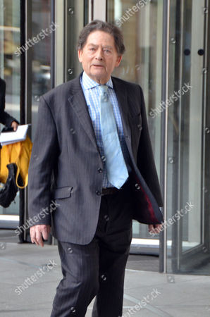 Lord Lawson outside the BBC studios, Broadcasting House