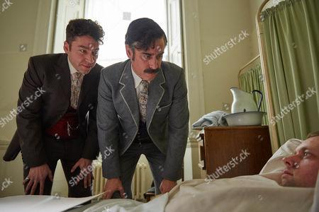 Stock Image of Harry Houdini, Michael Weston, and Arthur Conan Doyle, Stephen Mangan