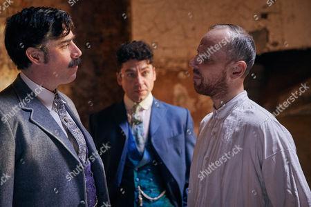 Arthur Conan Doyle, Stephen Mangan, Harry Houdini, Michael Weston, and Sherlock Holmes, Ewen Bremner