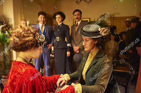 Background: Harry Houdini, Michael Weston, Arthur Conan Doyle, Stephen Mangan and Adelaide Stratton, Rebecca Liddiard. Front: Madam Korzha, Emily Hampshire and Lara, Tracey Spencer