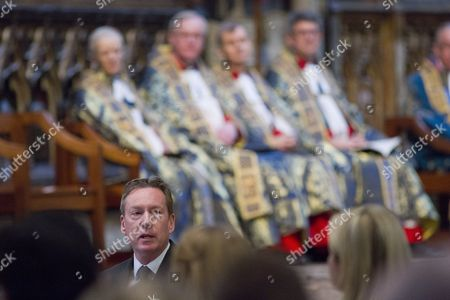 British journalist Frank Gardner speaks during a service of commemoration for victims of the 2015 terrorist attacks in Tunisia at Westminster Abbey