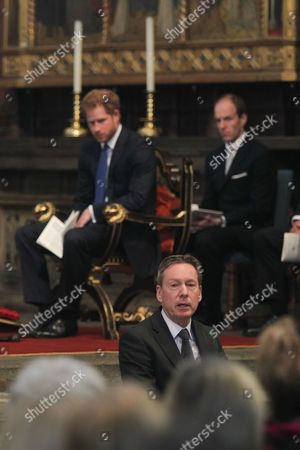 Prince Harry, listens to Frank Gardner, BBC Security Correspondent giving a Reflection.